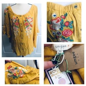 Umgee Boutique Yellow Floral Embroidered Blouse!